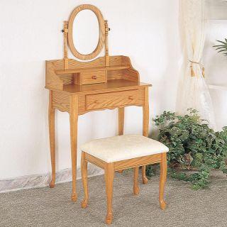 Coaster Elegent 2 PC Queen Anne Oval Swivel Mirror Raised Shelf Oak Vanity Set