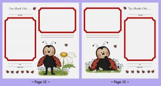 24 Set 12x12 Ladybug Bears Baby Shower Premade Adoption Scrapbook Pages w Poems