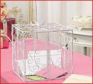 White Metal Wedding Gift Box Card Holder Beautiful Wedding Reception Piece