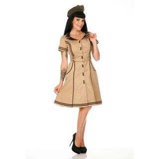 Voodoo Vixen Beige 50s New Vintage Style Retro Air Hostess Flared Swing Dress