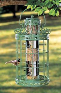 Tree Hanging Squirrel Proof Bird Feeding Feeder Birdfeeder Steel Cage 6 Perches