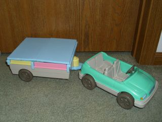 Fisher Price Loving Family Dollhouse Camping Pop Up camper Teal Blue Vehicle
