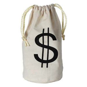 Roaring 20's 1920's Party Gangster Fabric w Drawstring Money Bag New
