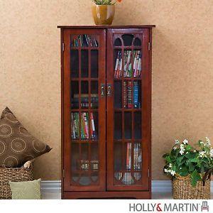 Grayson Cherry Media Cabinet DVD CD Storage Bookcase Glass Doors Holly Martin