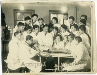 Medical Students w Cadaver Autopsy Antique Photo