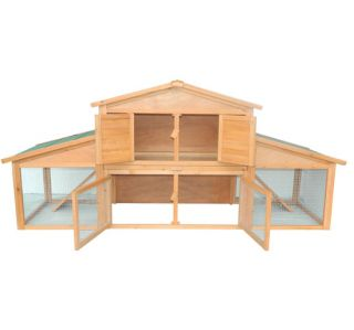 New Deluxe Large Wooden Rabbit Hutch Hen House Double Run Wood Chicken Coop