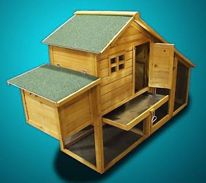 New Wooden Chicken Coop Nesting Box Hen House Chick Pen Run Rabbit Hutch HJ010