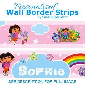 Dora The Explorer Bedroom Wallpaper Border Strips Girls Kids Childrens Name
