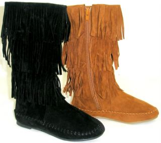 Girls Kids Cherokee Indian Moccasin Fringe Tassel Tall Flat Boots Faux Suede