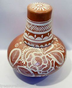 Vintage Mexican Clay Hand Painted Pottery Water Jug Cup on