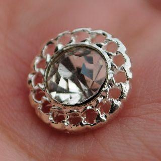 Diamante Flower Sparkling Crystal Rhinestone Button 1 2 inch 12 mm Shinning