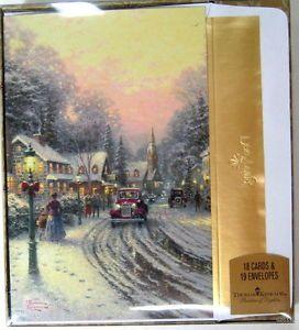 "Thomas Kinkade Glitter Christmas Cards ""Village Christmas"" Bible Verse Box of 18"