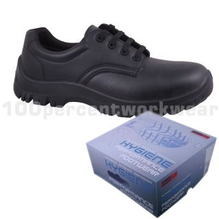 Blackrock Safety Work Lace Shoes Black Steel Toe Cap Food Medical Lab Anti Slip
