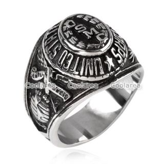 Mens 316L Stainless Steel USMC US Marine Corps Commemorative Ring Military S9 13