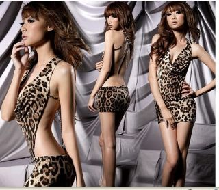 Sexual Fashion Funning Leopard Skin Point Mini Women Lady Sexy Dress Size 6 New