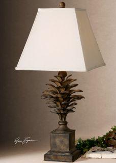 Metal Pine Cone Table Lamp Lodge Cabin Nature Home Decor Lighting