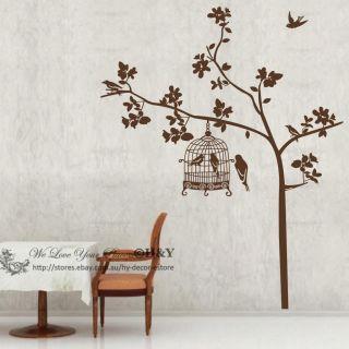 Bird Tree Cage Wall Deco Vinyl Sticker Decal Decor Removable Nursery Home DIY