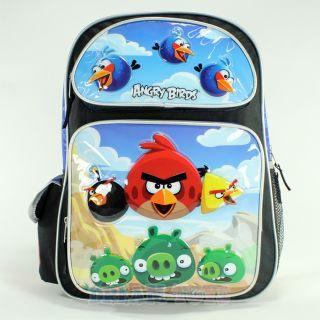 "Rovio Angry Birds Scene Blue 16"" Large Backpack Book Bag School Boys Girls Kids"