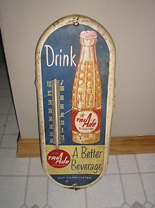 Old 1930 50s Tru Ade Thermometer Vintage Metal Sign Thermometer Tru Ade Soda U
