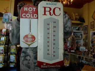 Vintage Advertisement Thermometers Dr Pepper 1950`s RC 50`s 60`s 2 for One