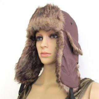 Men's Bomber Faux Fur Winter Warm Ski Ear Flap Russian Trapper Hat Aviator Cap