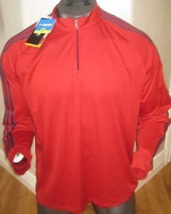 New Adidas ClimaLite MHz Training Mens Running Shirt XXL 2XL Red Stretch Warm