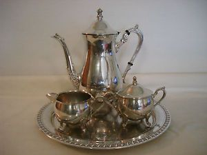 Vintage Leonard Silverplated Coffee Tea Set Pot Creamer Sugar with Lid Tray
