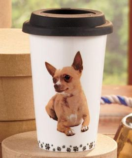 Double Walled Porcelain Dog Lover Coffee Tea Travel Mug Snug Fitting Lid 8 Breed