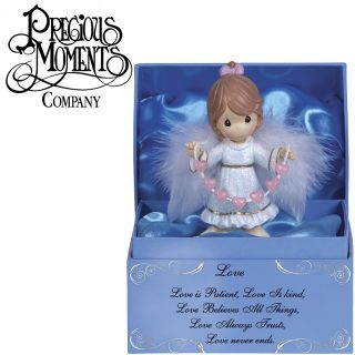New Beautiful Precious Moments Love Angel Figurine in Light Blue Satin Lined Box