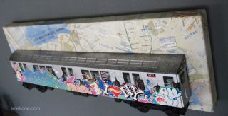 New York City Subway Train Graffiti Art Toy Painting
