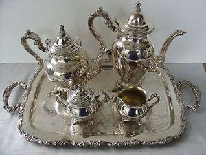 Oneida Silverplate Tea Coffee Set with Tray Estate Great