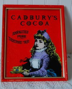 Cadbury's Cocoa Original Vintage Reverse Painting on Glass Advertising Sign