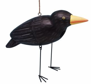 Birdhouse Crow Shaped Wood Bird House
