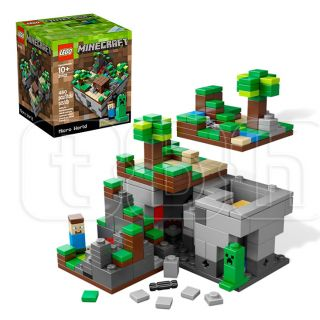 Minecraft Cuusoo Lego Micro World Minifigures Figures Steve Creeper Set 21102