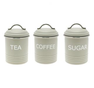 ... Home Sweet Home Retro Green Tea Coffee Sugar Kitchen Storage Jars  Canisters Set ...