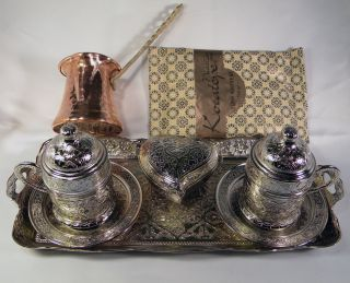 Turkish Coffee Full Set 2 Cups Sugar Bowl Tray Pot