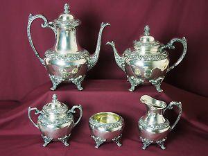 Rogers Bros Silver Plated 5 Piece Heritage Coffee Tea Service Impressive