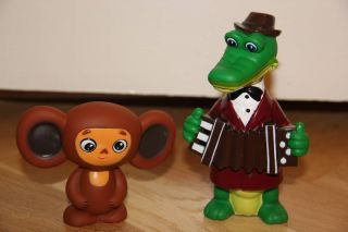 Cheburashka Crocodile Gena Rubber Toys of Russian Cartoon Yebypawka ЧЕБУРАШКА