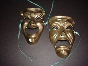 Vintage Brass Comedy Tragedy Mask Set Wall Plaque thespian Drama Theater