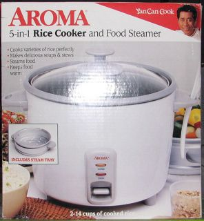 Aroma 2 14 Cup 5 in 1 Rice Cooker Food Steamer Steam Tray White New