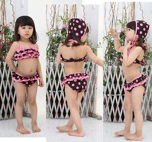 Girls Kids Swimwear Tankini Swimsuit Bikini Baby Age 2 7Y Bathers Costume Swim