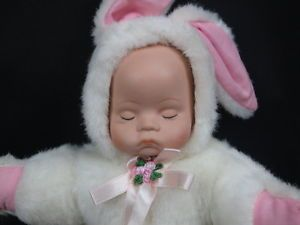 Baby and Bunny Costume Ceramic Face Oriental Trading Company Plush Stuffed Doll