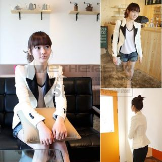 Western Womens Lapel Casual Suits Blazer Jacket Outerwear Coat Lining White
