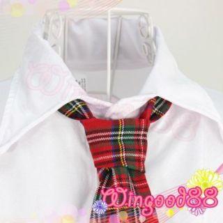 Sexy School Girl Costume Lingerie Top Shirt Tie Mini Plaid Skirt Cosplay Dress