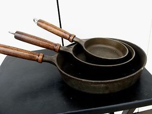 Set of 3 Cast Iron Skillets Frying Pans Wood Handle Cookware Camping