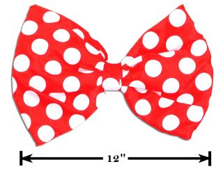 Fancy Dress Party Accessory 1 Jumbo Clowns Bow Tie Spotted Dots Red White