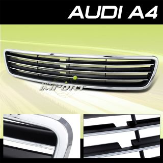 1996 2001 Audi A4 Chrome Black Front Upper Grille Replacement Euro Sport Kit