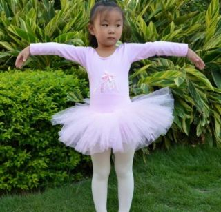 Girl Snap Button Crotch Leotard Ballet Tutu Dance Costume Dress 3 8Y Long Sleeve