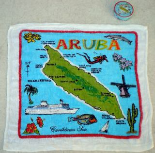 "72 Magic Compressed Face Hand Towel Aruba Map 12x12"" Souvenir Wholesale Lot"