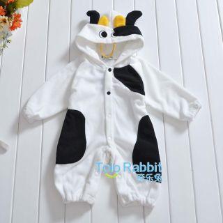 New Infant Baby Boys Girls Outfit One Piece Bodysuit Cartoon Fleece Costume